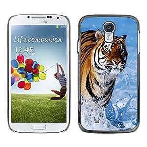 Caucho caso de Shell duro de la cubierta de accesorios de protección BY RAYDREAMMM - Samsung Galaxy S4 I9500 - Tiger Blue Water Nature Sun Summer