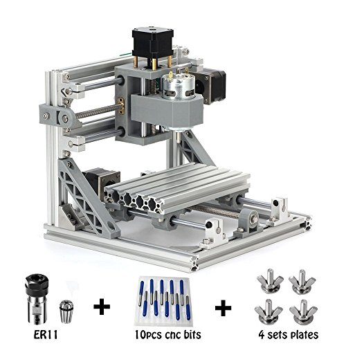 CNC Router Engraving Machine with 5mm ER11, 160x100mm, PCB PVC Wood Metal Milling Machine + 10PCS CNC Router Bits + 4 Sets CNC Plates by MYSWEETY