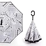 Starry Sky Anti UV Inverted Umbrella Reverse Folding Double Layer Umbrellas Stand Inside,newspaper