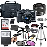 Canon EOS M6 Mirrorless Digital Camera (Black) with 15-45mm STM Lens + Deluxe Accessory Bundle Including Sandisk 32GB Card, Canon Case, Flash, Grip Multi Angle Tripod, 50' Tripod, Filters and More.