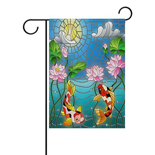 Summer Stained Glass - ALAZA Art Stained Glass Garden Flag, Koi Fish and Lotus Flowers Underwater Summer 28 x 40 Inch Double Sided Weather Resistant Premium Welcome Yard House Flags for Outdoor Decor