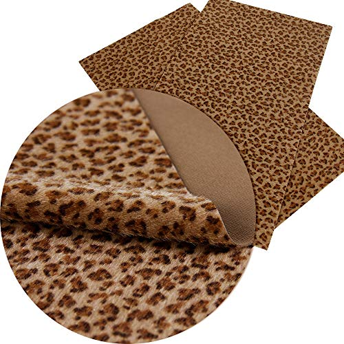8x13 Inch PU Artificial Leather-Leopard Print Fabric-Leopard Leather Fabric Sheets-Cheetah Leather Sheets for Earring Making-Velvet Leather Sheets-Synthetic Leather Fabric for Phone Coverings (Brown)