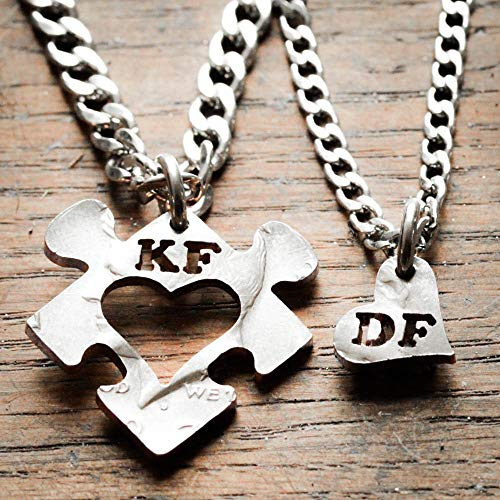 Puzzle pieces necklaces, Heart and initial jewelry, hand cut coin, By NameCoins