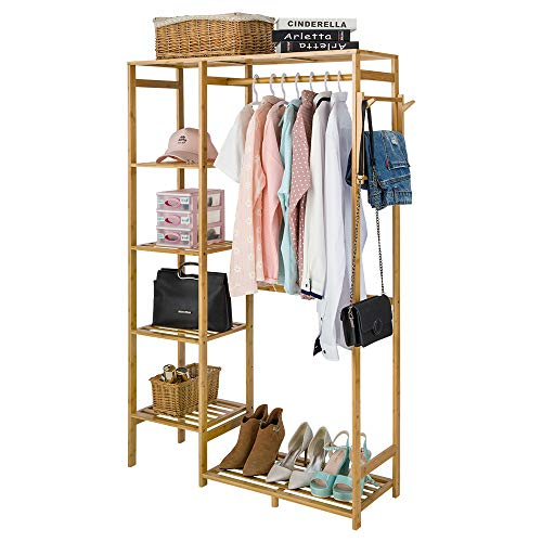 ISINO Large Bamboo Wood Clothing Garment Rack with Shelves Clothes Drying Hanging Rack Plant Stand for Long Jacket Trousers Shoe and Coat Storage in Home Laundry Room Commercial Corner (Heavy Duty)