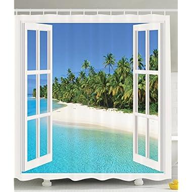 Ocean Decor Gazebo Curtains Paradise Island Palm Tree Decoration for Bathroom Seaside Theme in Beach Pictures for Bathroom Art Modern Shower Curtain Exotic Tropical Ocean Design Blue Green Aqua White