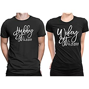 Sugar Yeti Hubby est Wifey est Wedding Date Couple Matching T-Shirt Honeymoon Valentines