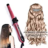 2 in 1 Straightener and Curling Iron with Automatic Rotation,Hair Curler for Long Hair Flat Iron Auto Roller 1 inch /25mm Automatic Hair Waver for Curling and Straightening Mothers Gift for Women