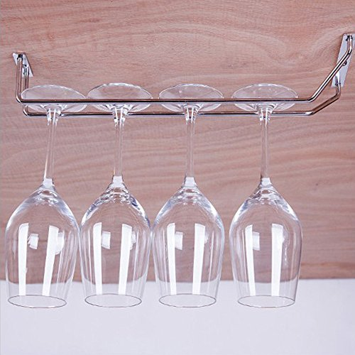 Wine Glass Rack,  - Wall Mounted Cabinet Glasses Holder - Hanging Bottle Storage Stemware Racks Hanger Bar Furniture Counter - 14'' Stainless Steel Champagne Chrome Mount Organizer Finish For Kitchen by ieasycan