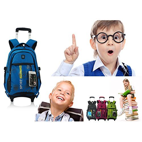 """LEGE Multi-fonction Demountable Student Hand Trolley/Wheeled Backpack w/Comfort Shoulders 14"""" Laptop A4 Files Lightweight,Green"""