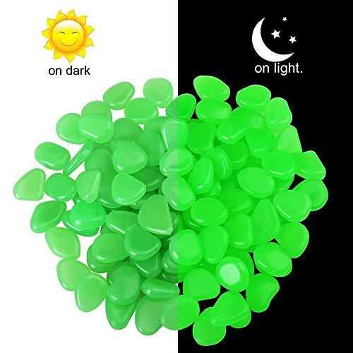 OBNZ Glow in The Dark Pebbles, 110 PCS Glow Pebbles Stone Rocks for Garden, Walkways, Driveway, Path, Fish Tank(Green)