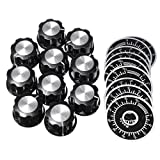 Toolcool 20pcs Adjustable Rotate Button Potentiometer Control Knobs 0-100 Scale Sheet