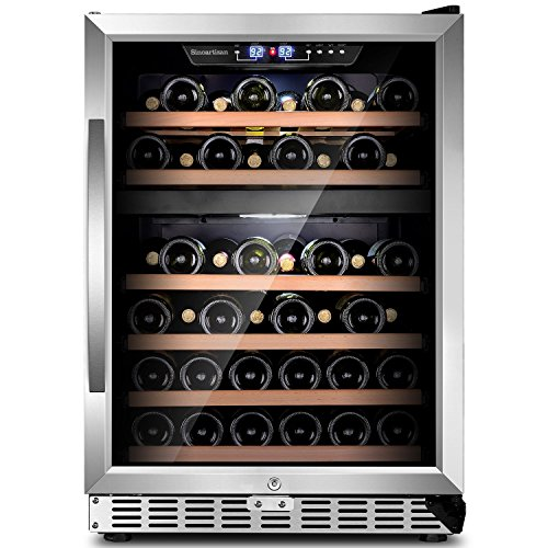 """White Built In Wine Cellar (Sinoartizan 24""""Compressor Wine cooler 44 bottles Dual zone ST-54D Built-in or Freestanding Wine refrigerator with Stainless Steel Double-Layer Tempered Glass Door and Temperature Memory Function)"""