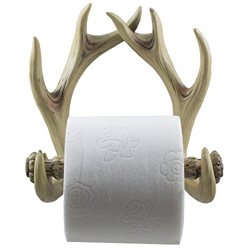 (Decorative Deer Antlers Toilet Paper Holder in Weathered Look for Rustic Hunting or Fishing Cabin and Lodge Bathroom Decor As Gifts for Buck Hunters)