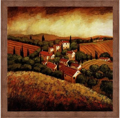 (Framed Tuscan Hillside Village- 24x24 Inches - Art Print (Brown Barnwood Frame))