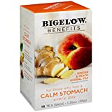 Bigelow Benefits Calm Stomach Ginger Peach Herbal Tea Box of 18 Teabags (Pack of 6) Caffeine-Free Individual Herbal Tisane Bags, for Hot Tea or Iced Tea, Plain or Sweetened with Honey or Sugar
