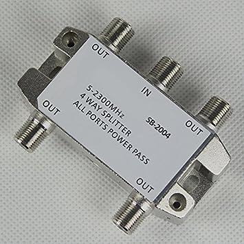 safercctv (TM) 5 - 2300 MHz (2.3GHz) RF bidireccional 4 Vías Digital Coaxial /Cable Coaxial divisor para moca CATV caja de cable de antena satélite tivo OTA ...
