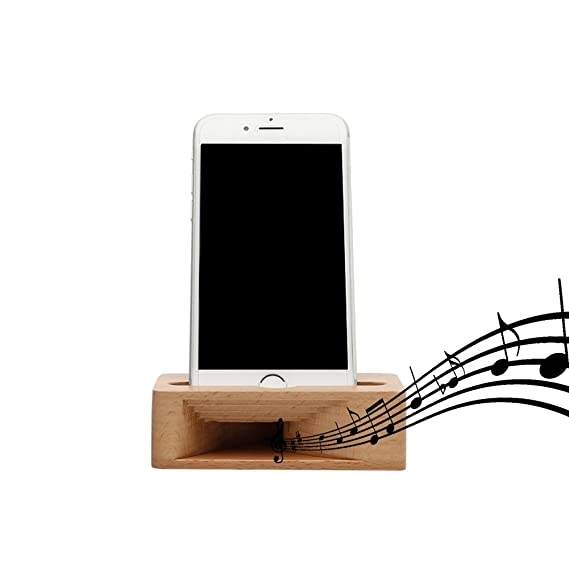 ece87d71273610 FILIWI New Cell Phone Stand, iPhone Stand Holder Bamboo Wood Phone Dock  with Sound Amplifier