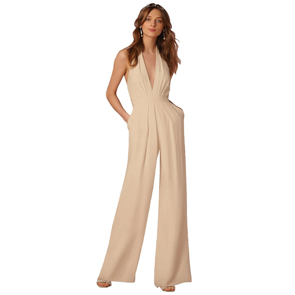48203230edb3 Amazon.com  Lielisks Sexy Jumpsuits Formal Sleeveless V-Neck Halter Wide  Leg Long Pants  Clothing