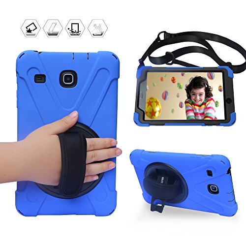 BRAECN for Samsung Galaxy Tab E 8.0 Case 360 Degree Rotation Kickstand/a Hand Strap/a Shoulder Strap Case [Shock Proof] Hybrid pc+Silicone Cover for Samsung Tab E 8SM-T375/ SM-T377 Case(Blue)