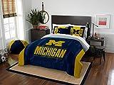 Michigan Wolverines - 3 Piece FULL / QUEEN SIZE Printed Comforter & Shams - Entire Set Includes: 1 Full / Queen Comforter (86'' x 86'') & 2 Pillow Shams - NCAA College Bedding Bedroom Accessories