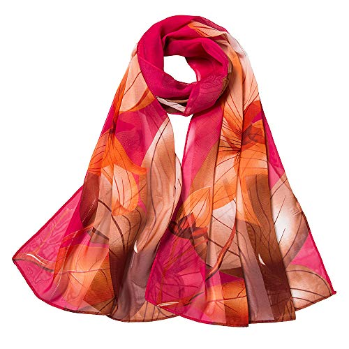 Scarf Butterflies Dresser (DEATU Fashion Lightweight Scarf Ladies Small Floral Printing Shawl Women Long Soft Wrap Scarves(c-Red,One Size))