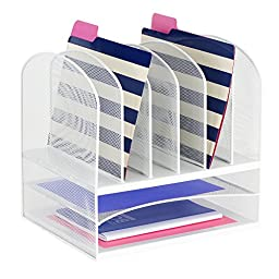 Safco Products 3255WH Onyx Mesh Desktop Organizer with 6 Vertical/ 2 Horizontal Sections, White