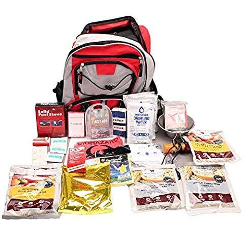 Wise Foods 5 Day Survival Back Pack, Red - 3 Day Emergency Survival Kit