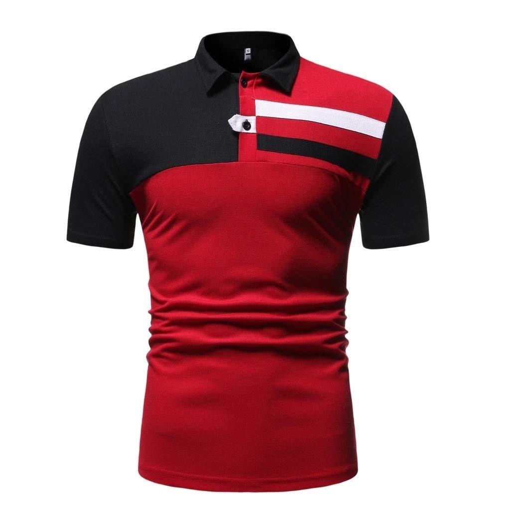 Vska Mens Hit Color Fashion Silm Fit Polo Shirt Short Sleeve Tees