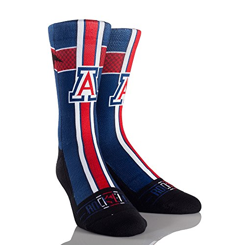 Arizona Wildcats Jersey Series Custom Athletic Crew Socks, Small/Medium, Blue (Arizona Wildcats Basketball Jersey)