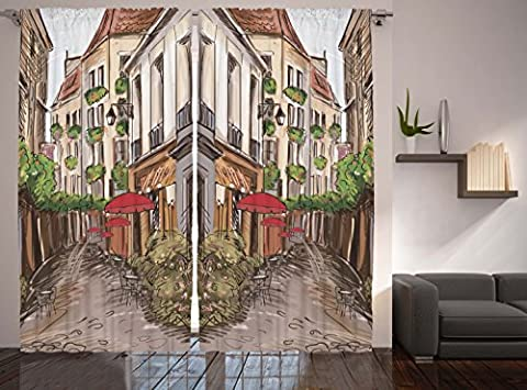French Cafe Old Street Vintage Town Country Bar Decor Curtains for Bedroom Living Dining Room Art Prints Romantic Curtains Panels 2 Panels Set, Green Red Beige Brown