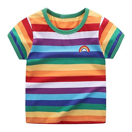 Motecity Little Boys' T-shirt Rainbow Striped Size 5 Rainbow