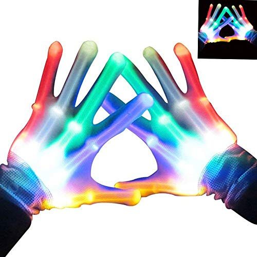 heytech Led Gloves Light-up Party LED Party Supplies Gloves Multicolor Led Glove for Halloween,, Dance Costumes, Kids Games, Light-up Party. -