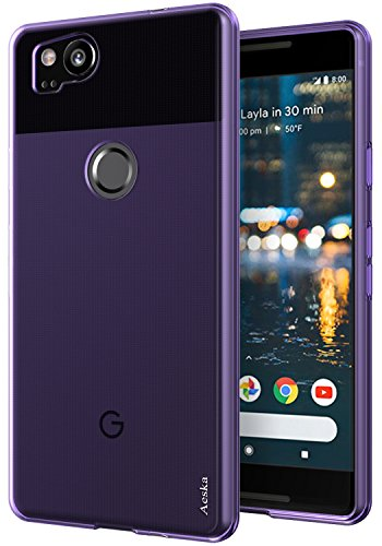 Google Pixel 2 Case, Aeska Ultra [Slim Thin] Flexible TPU Gel Rubber Soft Skin Silicone Protective Case Cover for Google Pixel 2 (Purple)