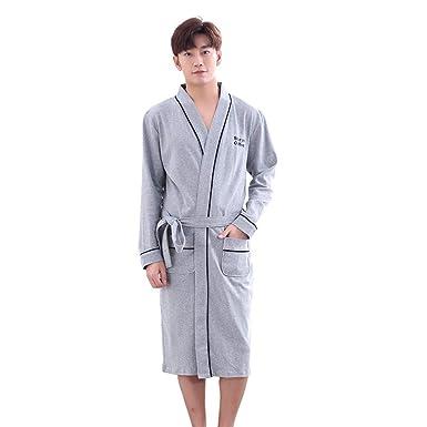Yifen Unisex 100% algodón Kimono Wrap Bata Bata Bata con Bolsillos y cinturón para Hombres