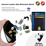 Piboshi Slim Minimalist Wallet Thin Leather Credit Card Holder Wallet RFID Blocking Front Pocket Wallets for Men