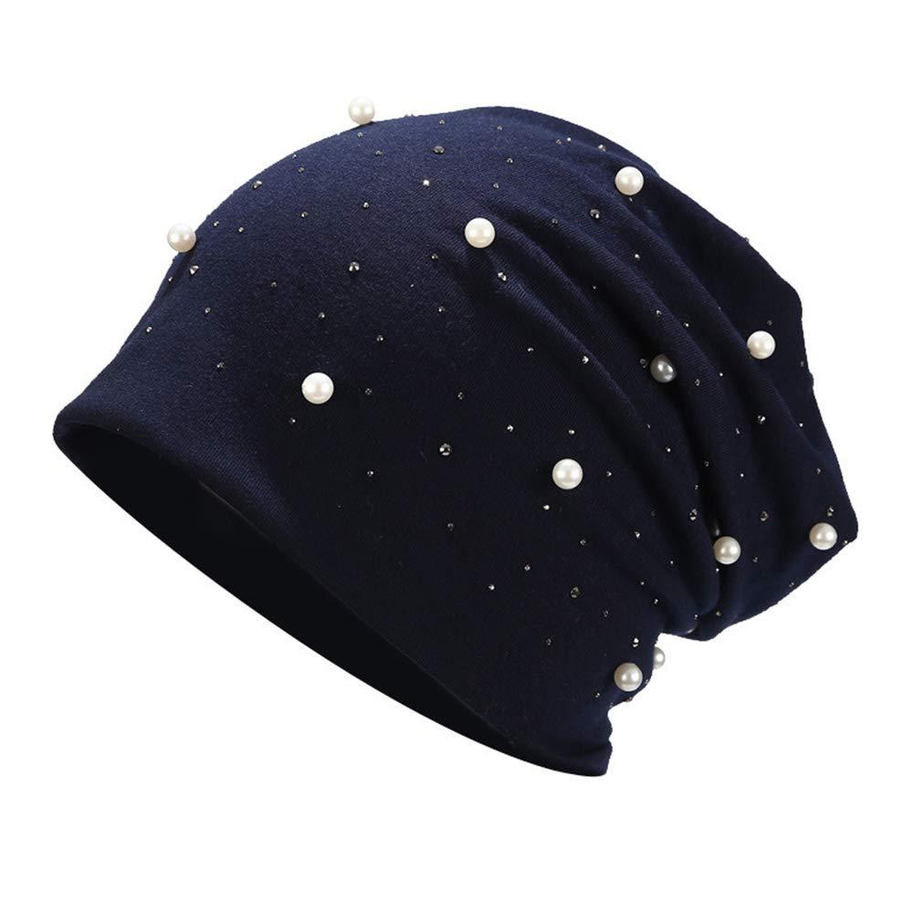 brillante con perle con strass stile casual Cleme Berretto da donna per adulti elastico decorazione elegante autunnale in misto cotone caldo taglia unica