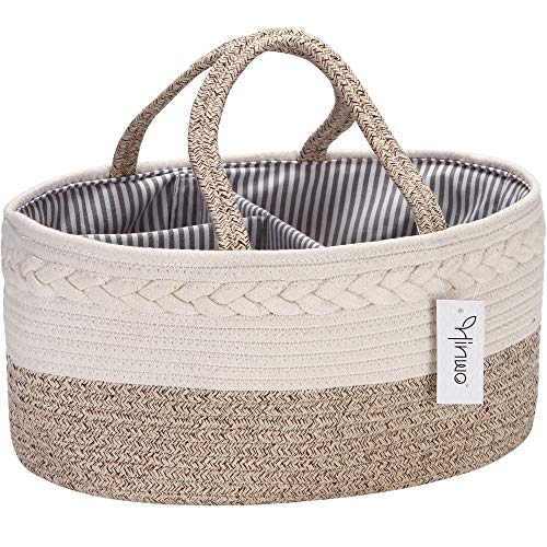 Hinwo Baby Diaper Caddy 3-Compartment Infant Nursery Tote Storage Bin Portable Car Organizer Newborn Shower Basket Cotton Rope with Detachable Divider for Diapers & Wipes, Natural