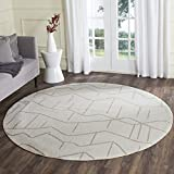 Safavieh Amherst Collection AMT429K Ivory and Grey Indoor/ Outdoor Round Area Rug (7′ Diameter) For Sale