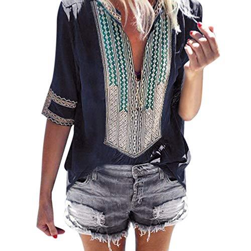 - Sunhusing Women's Deep V-Neck Bohemian Print Half Sleeve Tops Casual Beach Wind T-Shirt Dark Blue