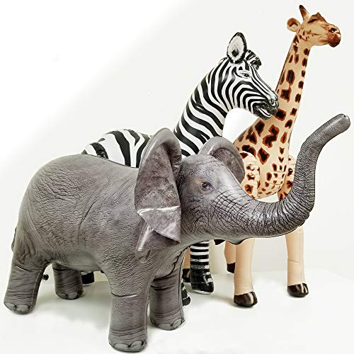 Jet Creations Safari 3 Pack Giraffe Zebra Elephant Great for Pool, Party Decoration, an-GZE, Multi -