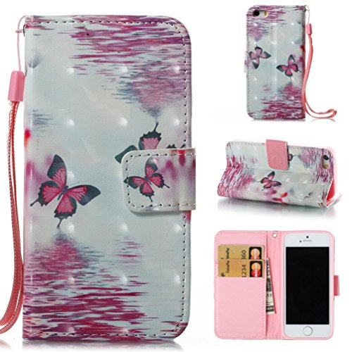 iPhone 5S Case,iPhone SE Case,iPhone 5 Case,Firefish [3D Printing] PU leather [Shock Proof] Case Flip Folio [Kickstand][Card/Cash Slots] Wallet Cover With Wrist Strap for iPhone 5/5s/SE Case-Butterfly