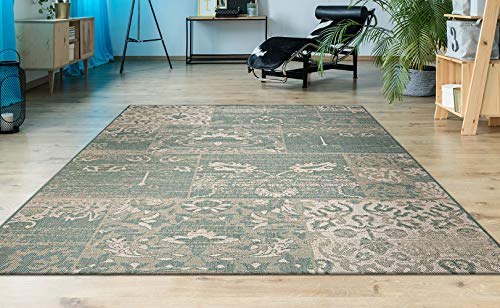 Couristan Afuera Country Cottage Rug, 5-Feet 3-Inch by 7-Feet 6-Inch, Sea Mist/Ivory