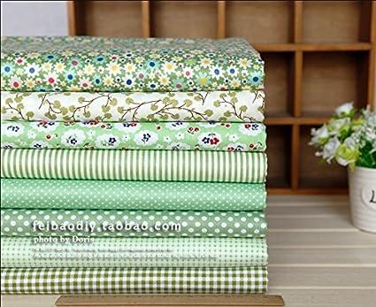 Quilting Bundle algodón gamuza de tejidos para costura Patchwork diseño de impresión tejido textil tejidos 8 diseños color verde tamaño 20 x 25 cm: Amazon.es: Hogar
