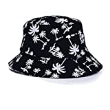 HuntGold 1X Durable Coconut Tree Printed Unisex Bucket Cap Outdoor Activity Sun Protect Hat(Black)