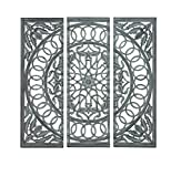 Woodland Imports Modern Wooden Carved Mirror Panel in Intricate Detail Work