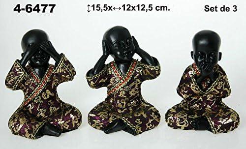 DRW Set de 3 Figuras de Resina de niños Buda Resina, en Color Negro y Oro con Traje Morado