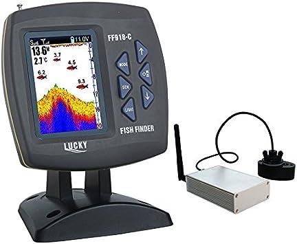 LUCKY Fish Finder Pantalla LCD DE 3,5 Pulgadas inalámbrico Mando a Distancia para Kayak Pesca Alarma de 300 M/980ft Rango de Operación Detector de Peces