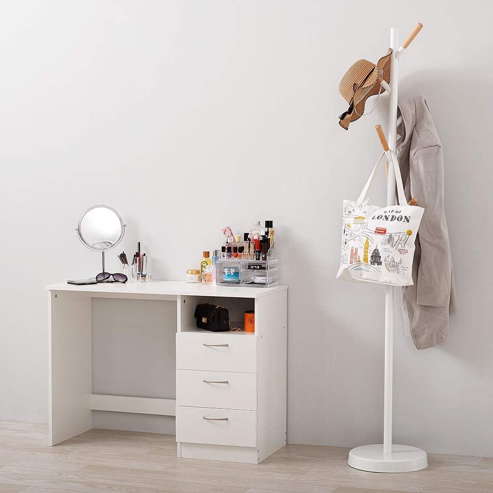 Tocador Moderno de Madera sin Espejo con 3 Cajones Escritorio Color Blanco para Dormitorio Sal/ón Belleza Cosm/ética PanaCasa