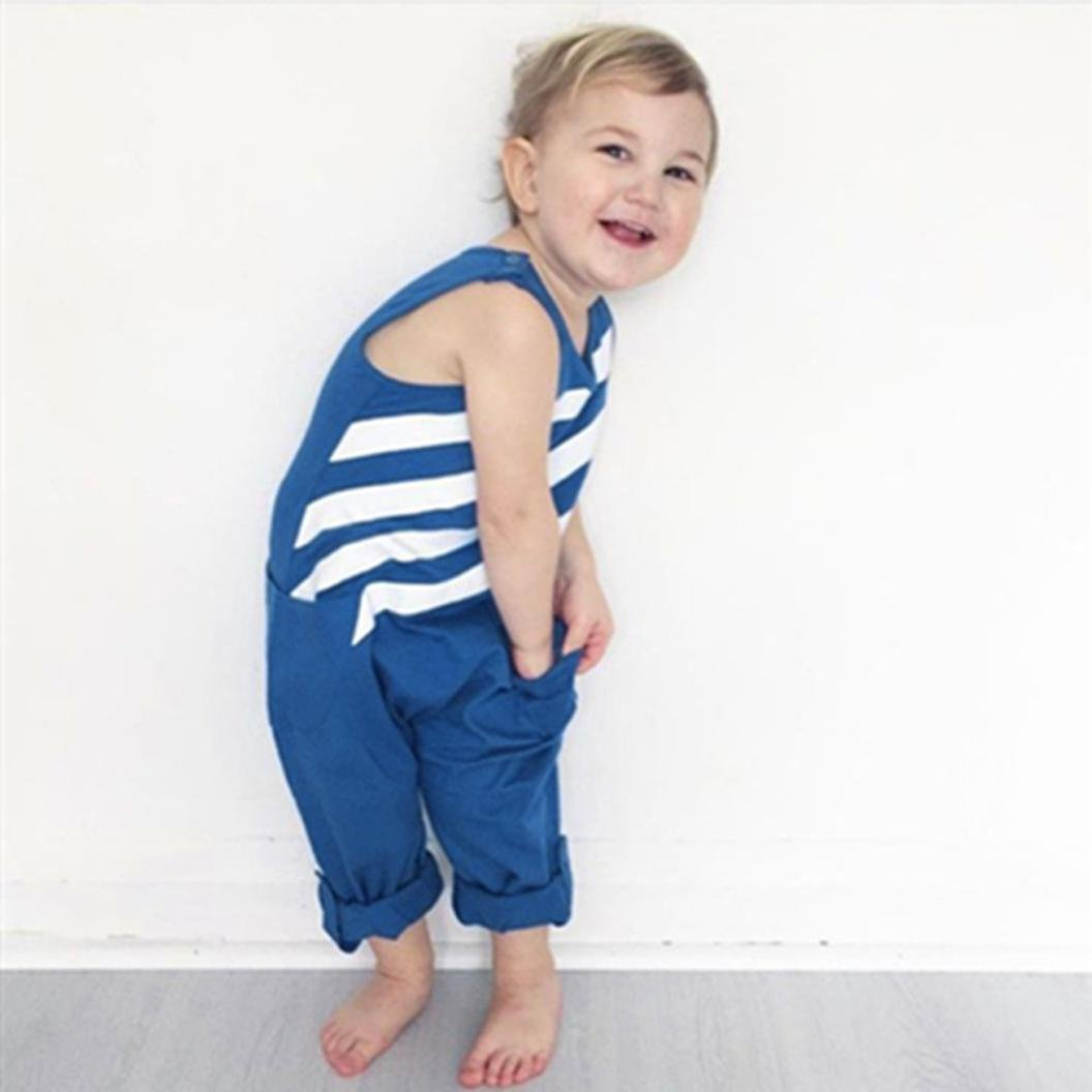 316422b66b44 Amazon.com  Vibola® Toddler Baby Clothes Boy Blue Striped Jumpsuit ...