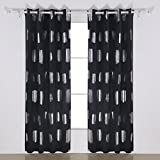 Deconovo Oblong Pattern Print Thermal Insulated Blackout Curtains 2 Panels Window Curtains Blackout for Bathroom 52W x 95L Black Review
